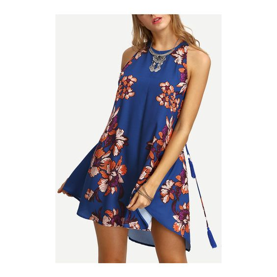 SheIn(sheinside) Floral Print In Blue Cut-out Side Shift Dress ($22) ❤ liked on Polyvore featuring dresses, blue, floral dresses, shift dress, short floral dresses, vintage floral dress and blue dress