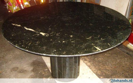 Tafel rond in zwarte marmer sint anna 130 cm doorsnee westplein