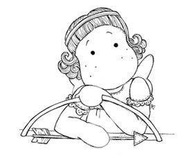 "buste tilda rêveuse en  ""cupidon""avec son arc - St-Valentin"