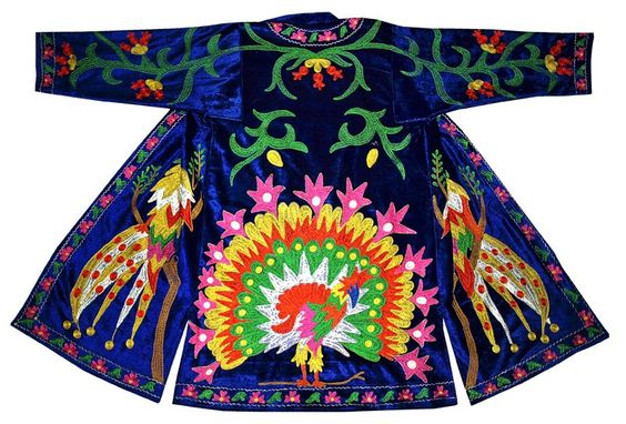 Traditional National Uzbek Robe CHAPAN Embroidered With Silk