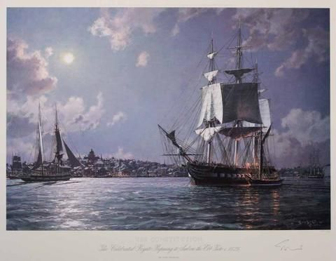 """USS CONSTITUTION  Revolutionary War Print as it leaves Boston Harbor by John Stobart This scene is of the """"Constitution"""" in Boston Harbor in her days of glory. She is shown making preparations to sail at ebb tide.  Boston's Court House, Quincy Market and Faneuil Hall can be seen left of center as a brig arrives on the flood. Alongside the frigate a sloop unloads provisions as the gaskets are loosed from the royal sails, readying them for instant use."""