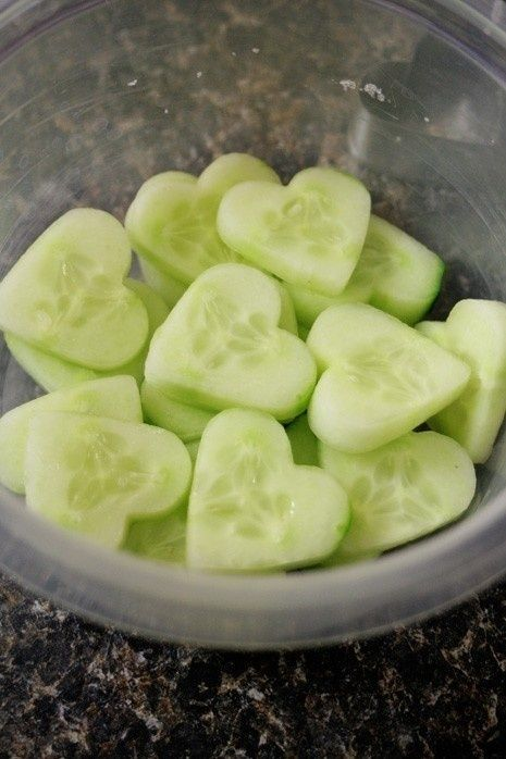 Heart cucumbers with a heart cookie cutter - great healthy Valentine's Day snack/addition to kids' lunch box.