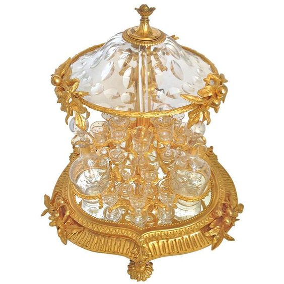Highly Rare and Unusual Mechanical Gilt Bronze and Crystal Tantalus 19th c.