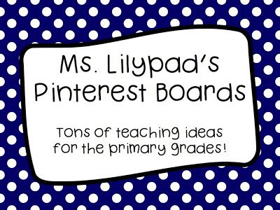 SUPER organized Pinterest boards to follow with lots of free teaching ideas and activities.  {Specific categories for PreK-2nd grade, such as:  inferring, vocabulary development, fractions, interventions, etc.!}