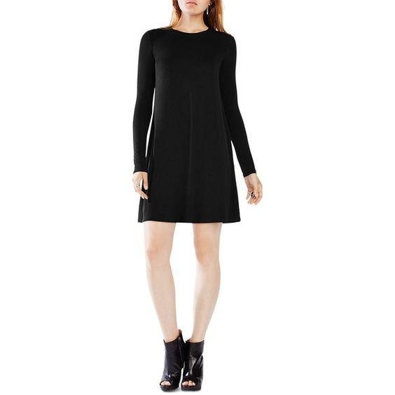 Bcbgmaxazria Jeanna Long Sleeve Dress (£102) ❤ liked on Polyvore featuring dresses, black, longsleeve dress, bcbgmaxazria dress, bcbgmaxazria and long sleeve dress