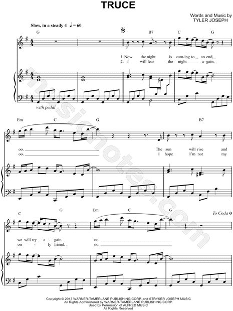 Print and download Truce sheet music by Twenty One Pilots  Sheet music  arranged for Piano Vocal Chords  and Singer Pro in G Major  transposable. Print and download Truce sheet music by Twenty One Pilots  Sheet