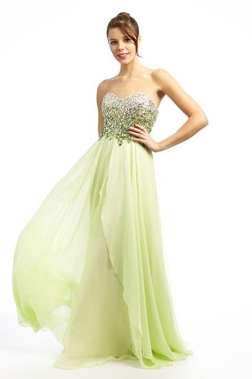 A beautiful strapless chiffon dress with a sweetheart  neckline, from Dynasty