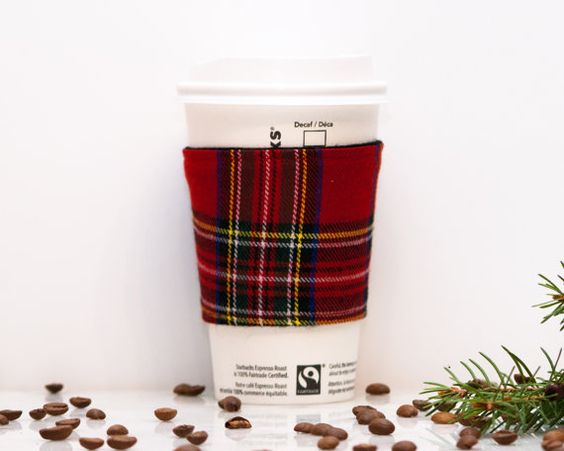 Red Plaid Coffee Cozy | Coffee Cup Sleeve | Stocking stuffer | Drink Sleeve | Black lining | Reversible | Womens Mens gift