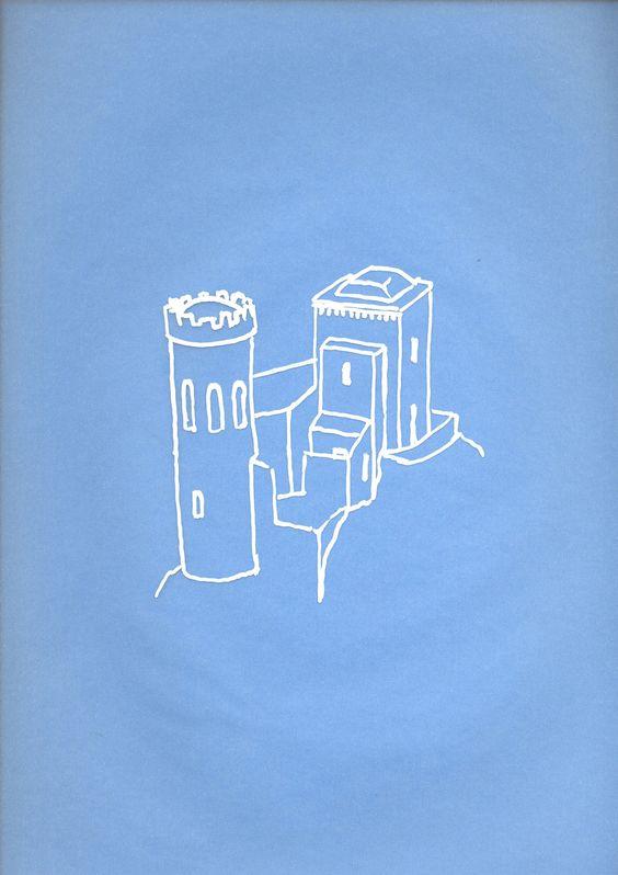 Massimo Dalla Pola, THE MIDDLE AGES-Erice-TP, XIII sec., bianchetto su carta da lucido, 21x29,7 cm, 2011
