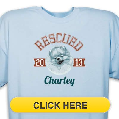 Check our Rescued Pomeranian T-Shirt to celebrate you #pet #animal#dog love. Just $18.99 + an extra $5off Just Enter Coupon Code: SAVEMORE5 at checkout at http://www.petproductadvisor.com/store/mc/rescued-pomeranian-tshirt.aspx