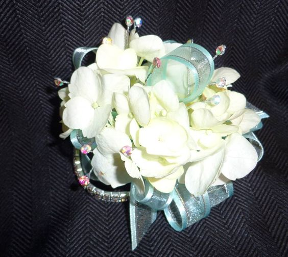 All Seasons Floral- simple and sweet hydrangea wrist corsage