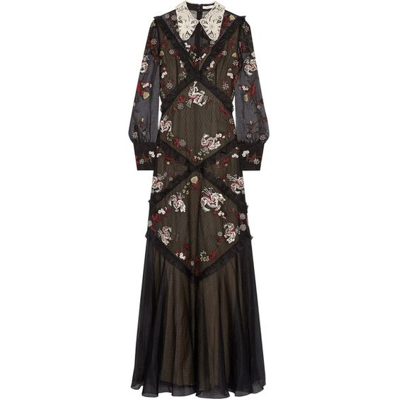 Erdem Jayne lace-trimmed embroidered silk-organza gown (5.530 BRL) ❤ liked on Polyvore featuring dresses, gowns, erdem, black, floral embroidered dress, metallic dress, metallic evening gowns, embroidered gown and floral print gown