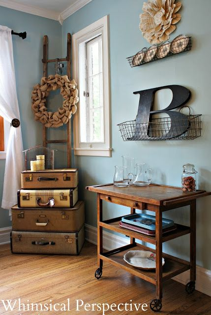New Additions to the Dining Room: Vintage suitcases and an antique tea cart
