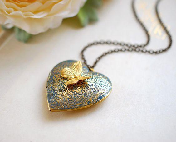 Herz Medaillon-Halskette. Butterfly Medaillon Halskette von LeChaim