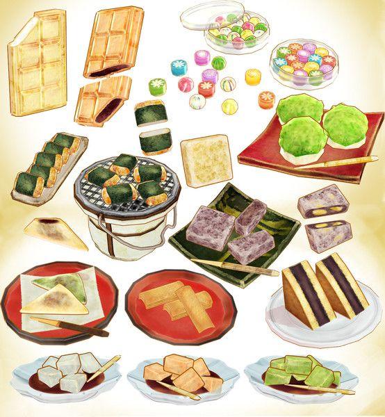 和菓子セットver3 0 キャベツ鉢 さんのイラスト 食品の描画 和菓子 イラスト 水彩画 食品