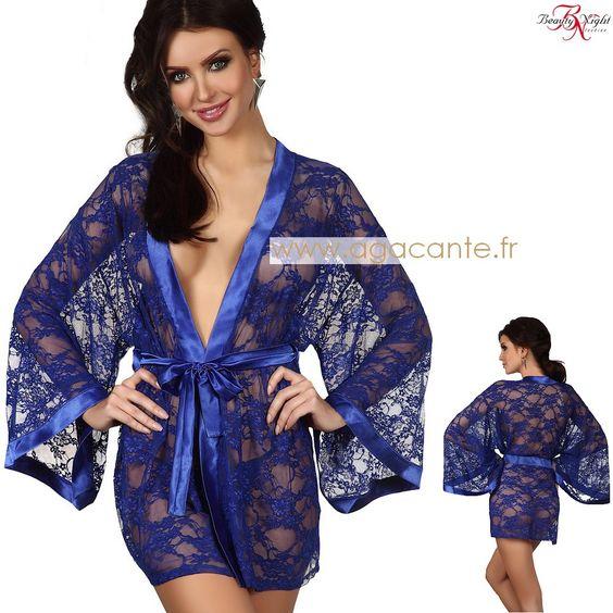 Un déshabillé peignoir bleu tout transparent en dentelle http://www.agacante.fr/peignoir-bleu-a1859.html