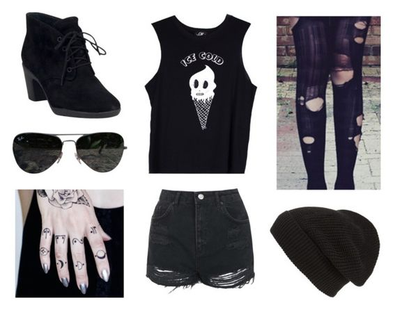 """""""Untitled #232"""" by eminemlove ❤ liked on Polyvore featuring Topshop, Valfré, Phase 3, Ray-Ban and Clarks"""