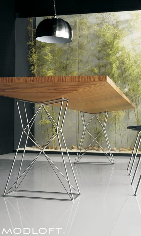 Curzon 87in Dining Table Ship program, Teak and Stainless steel - elegante esstische ign design