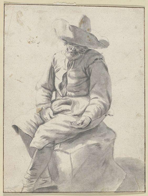unknown | Zittende man met hoed, unknown, c. 1600 - c. 1699 |