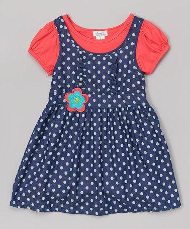 Look what I found on #zulily! Coral Denim Polka Dot Puff-Sleeve Dress - Toddler & Girls #zulilyfinds