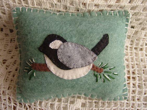 Winter Chickadee - Penny Rug Pillow Pincushion