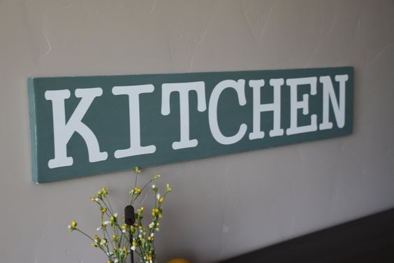 wood kitchen sign, kitchen wall decor, kitchen decoration, kitchen sign, kitchen decor, rustic decor, wall hanging, painted kitchen sign, by treehousedesignz on Etsy