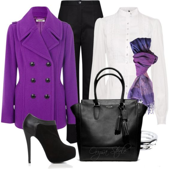 """Purple Coat"" by orysa on Polyvore"