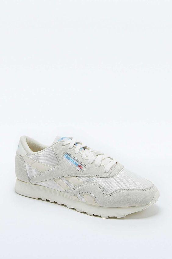 Reebok Classic White Nylon Vintage Runner Trainers