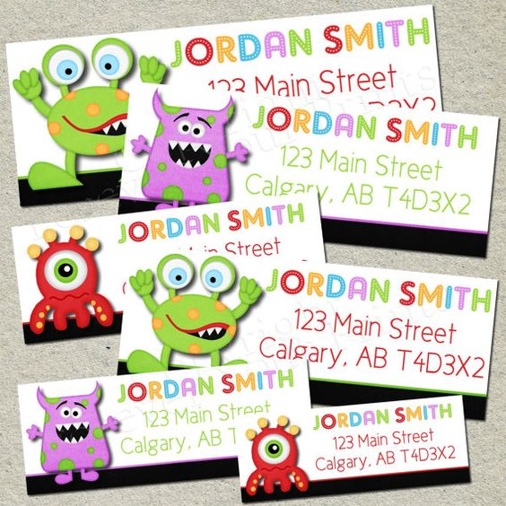 Monster Party Return Address Labels  DIY  by ForeverYourPrints, $5.00