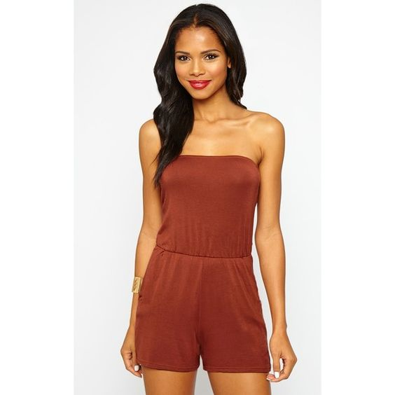 Rust Bandeau Jersey Playsuit (735 PHP) ❤ liked on Polyvore featuring jumpsuits, rompers, orange, playsuit romper, summer rompers, orange romper, summer romper and red romper