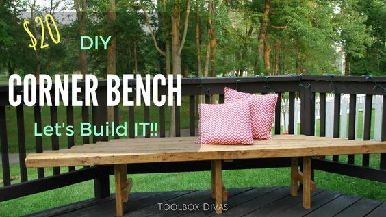 Free plans to Build a corner bench.  Beginner woodworking project for about $20. perfect Spring and Summer outdoor project