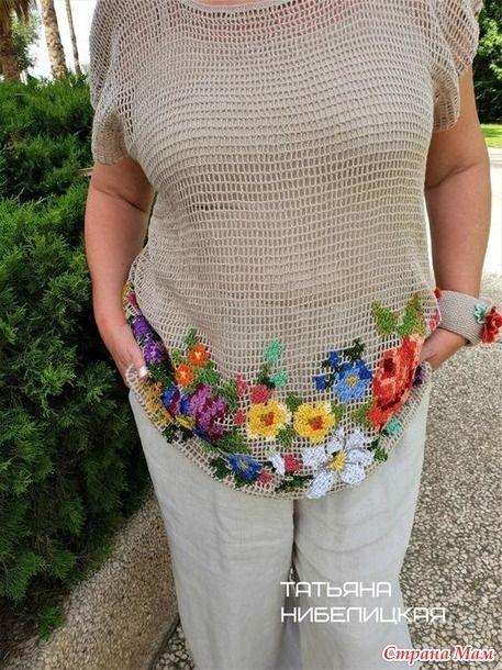 Кофточка из сеточки крючком с вышитыми цветами