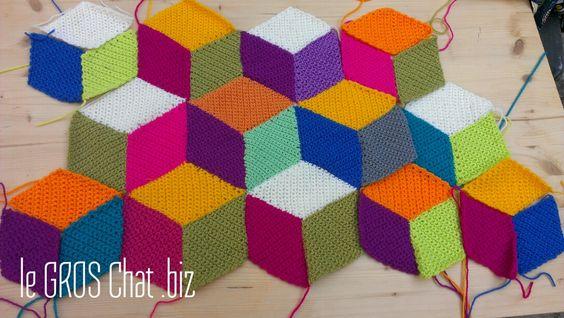 Le GROS Chat: Plaid au crochet Vasarely... Part 3