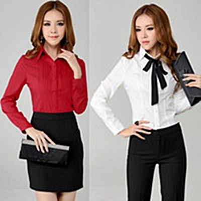 Red and white Long sleeve shirts for women. http://www ...