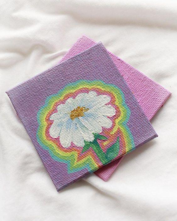 Rainbow Daisy Painting 70s Style Mini Canvas Art Acrylic Painting Canvas Canvas Art Painting