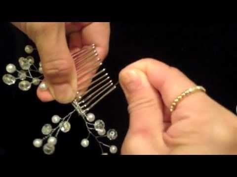 peineta con ramas de perlas y cristal