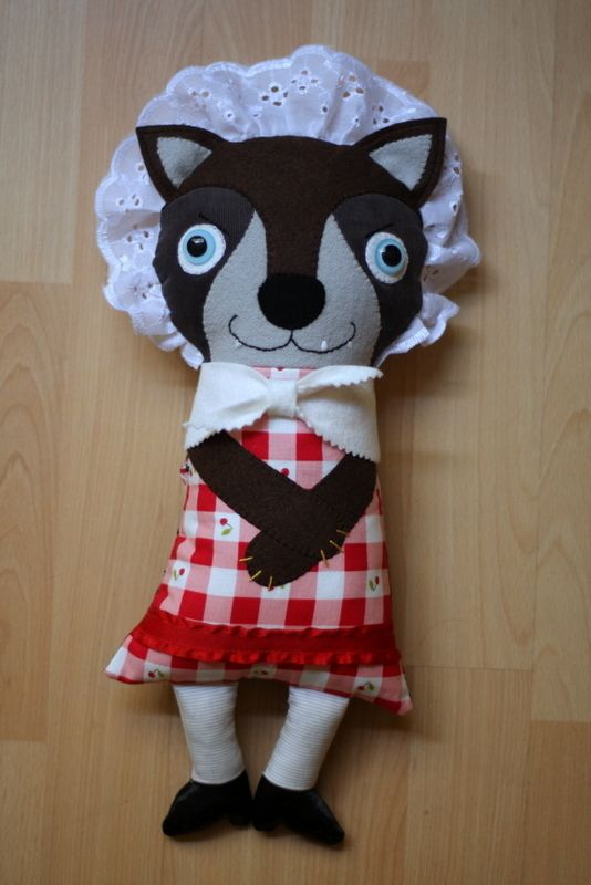 grandma wolfie 2 sided doll