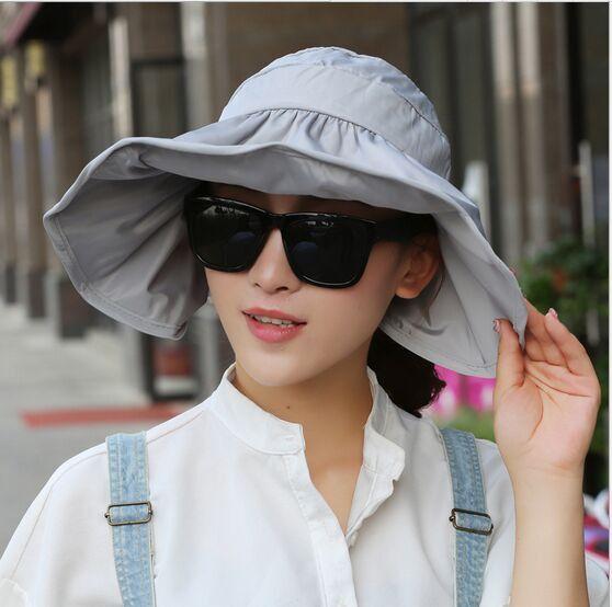 3004418a200 2017 Summer Women s Wide Brim Beach Sun Hat Fashion Chapeu Feminino Foldable  Visor Cap Outdoor Anti