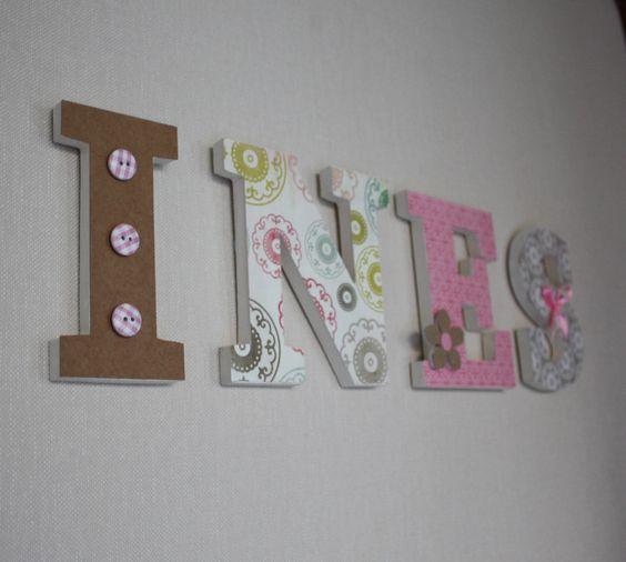 Pr nom personnalis in s lettres en bois rose et marron - Grosse lettre en bois a peindre ...