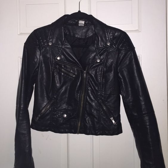 H&M faux leather moto jacket Gorgeous detail on this jacket. Size 6 but runs slightly small- would probably fit someone who wears a 4 comfortably. H&M Jackets & Coats