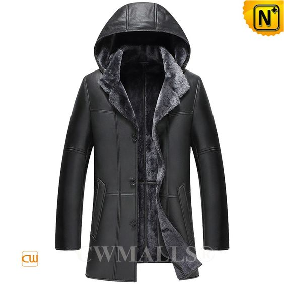 CWMALLS® Saint Paul Hooded Sheepskin Coat CW836521 - Black hooded