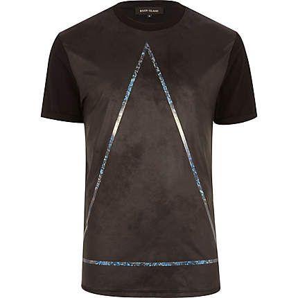 Black holographic triangle print t-shirt $44.00