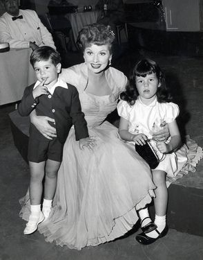 Actress Lucille Ball with her children, musician Desi Arnaz Jr. and actress Lucie Arnaz.
