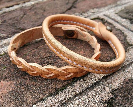 A couple natural vegtan bracelets  #thoroughbredleather #vegtan