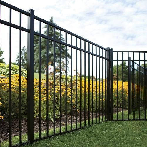 Freedom Actual 4 5 Ft X 6 31 Ft Pre Assembled New Haven Black Aluminum Flat Top Decorative Metal Fence Panel Lowes Com In 2020 Metal Fence Panels Aluminum Fence Landscaping Decorative Fence Panels