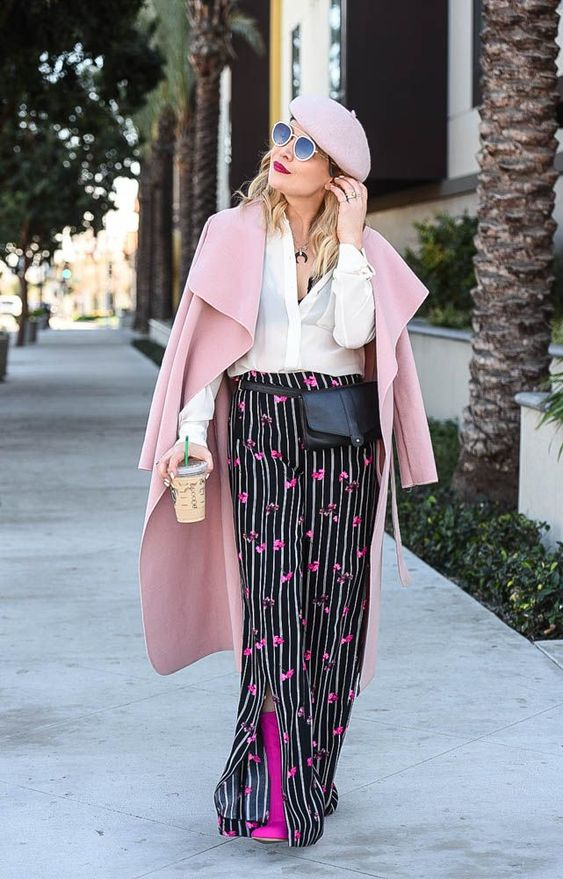 Floral Pants, Pink Beret & a Peek of Lace Floral print, white shirt, Seasonal style, OOTD, fashion blogger, women's fashion, street style, outfit inspiration, outfit ideas, outfits, what to wear now, trends, OOTD Inspo, Best Street Style, spring looks