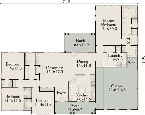 4bed 2 bath ranch 2093 sq ft combined guest bedroom for Ranch house plans with cost to build