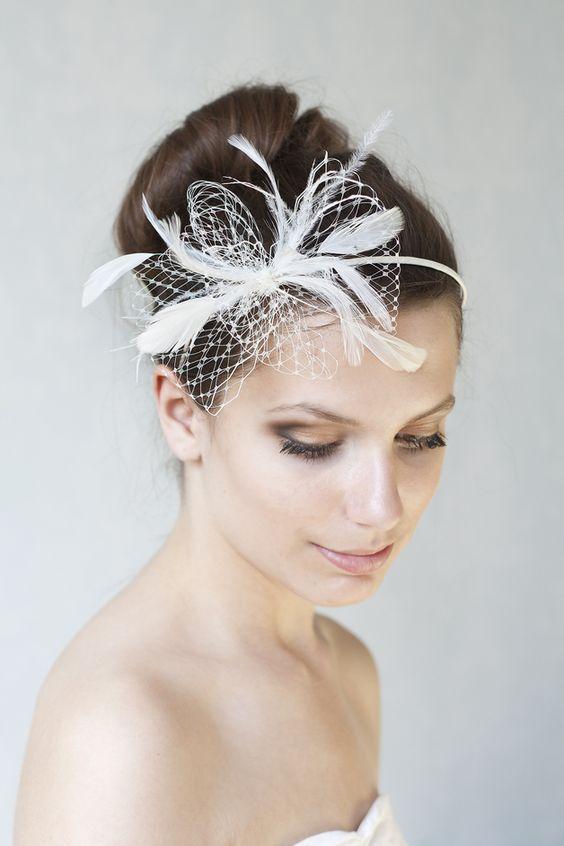 Brautschmuck, Haarreif, Haarschmuck // bridal headpiece, headband, fascinator via DaWanda.com