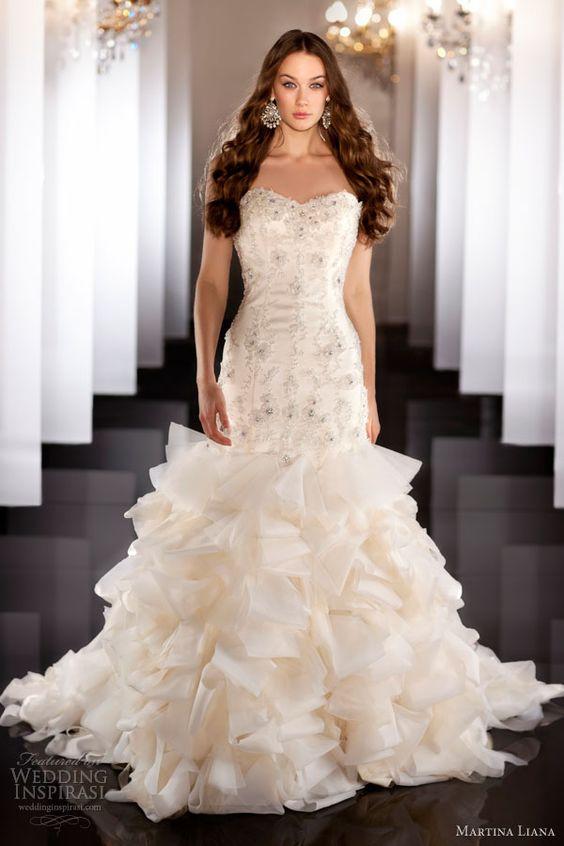 martina liana bridal fall 2013 wedding dress strapless ruffle skirt