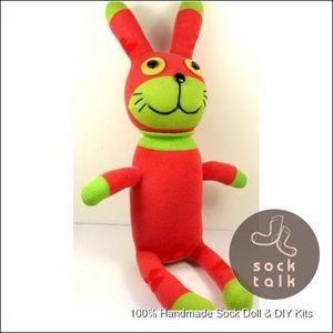 Handmade Red Sock Monkey Rabbit Stuffed Animals Baby Toy | eBay
